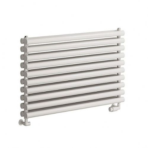 Reina Nevah Double Panel Horizontal Designer Radiator - 600mm Wide x 590mm High - White
